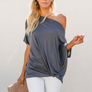 New Oversized Slouchy Tie Knot Blouse Top